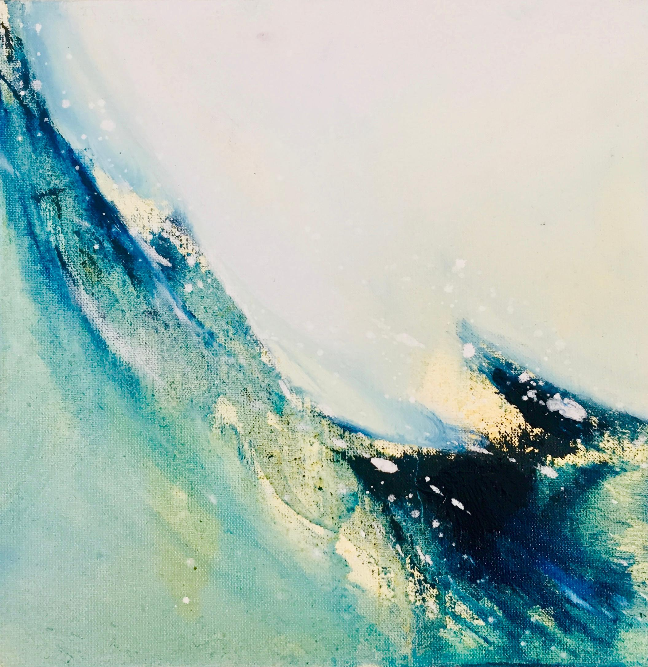 Wave Original Oil paint on canvas board Seascape blue vibrant signed