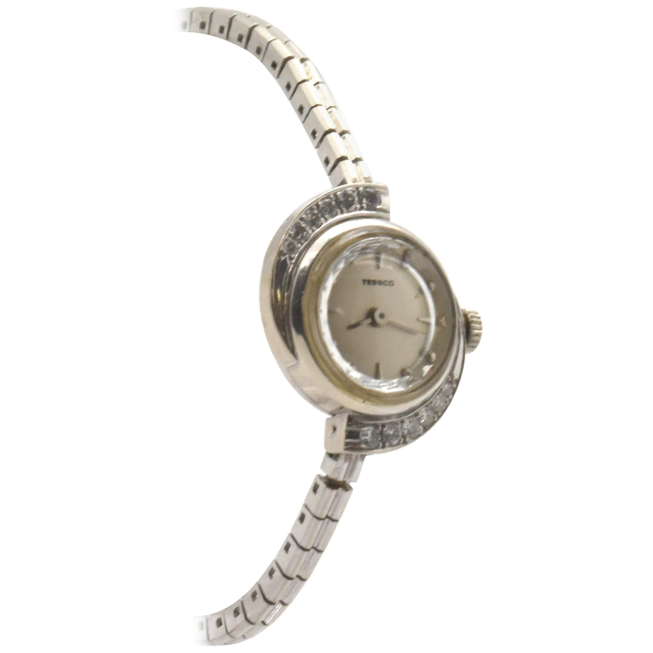 Tessco Ladies White Gold Diamond manual wind Wristwatch