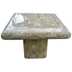 Tesselated Stone Table with Brass Inlayed top