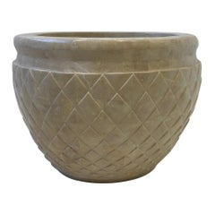 Tessellated Beige Fossil Stone Planter by Marquis Collection of Beverly Hills