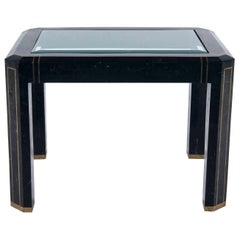 Tessellated Black Marble and Brass Table