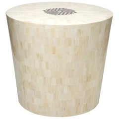 Tessellated Bone and Horn Inlay End Table or Stool