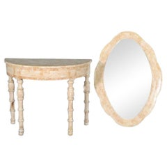 Tessellated Console Table and Mirror Set