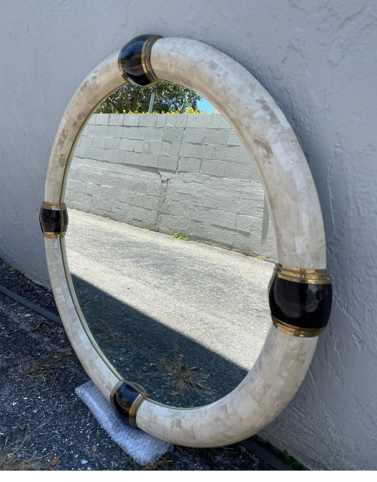 20th Century Tessellated Marble & Pen Shell Round Mirror by Karl Springer For Sale