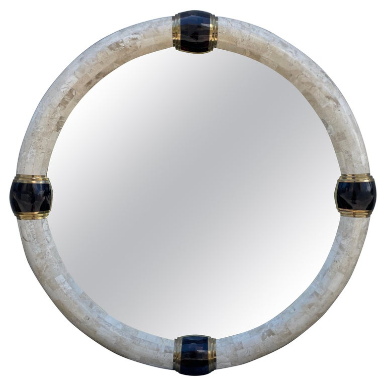 Tessellated Marble & Pen Shell Round Mirror by Karl Springer For Sale