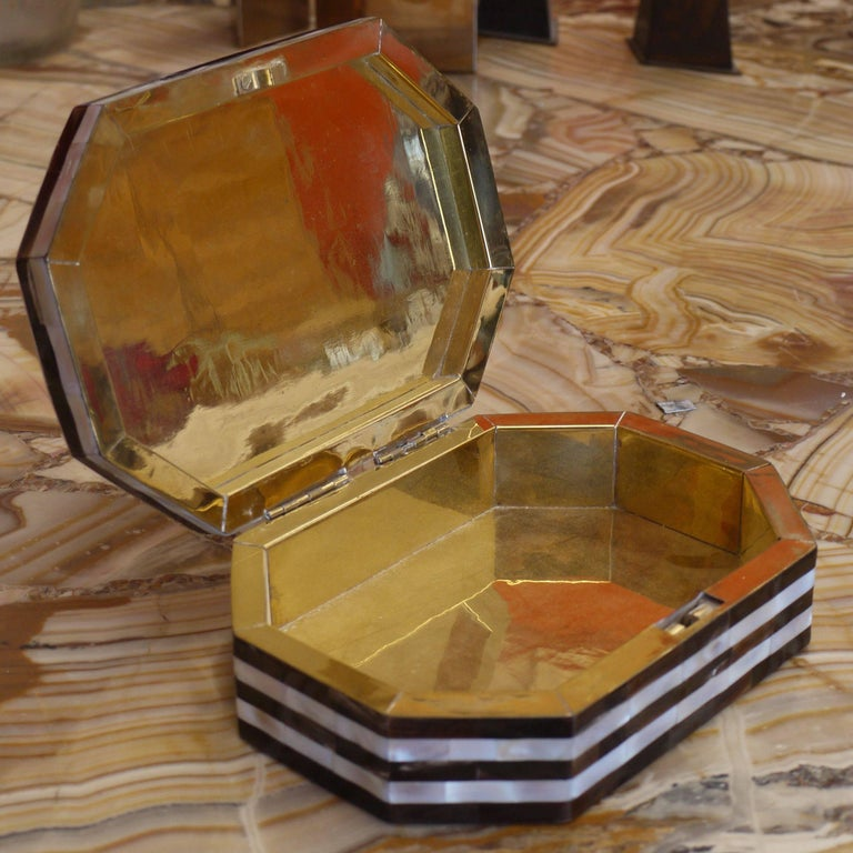 Indian Tessellated Mother-of-Pearl and Horn Box with Brass Interior For Sale