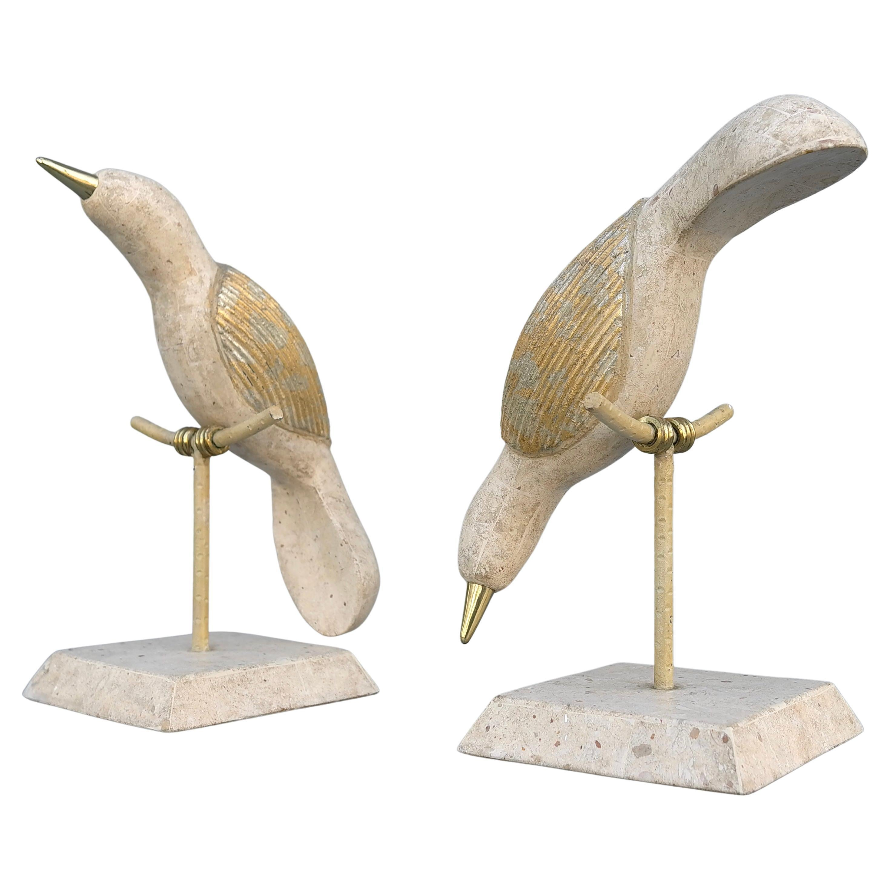 Tessellated Stone and Brass Birds Abstract Sculptures by Maitland Smith 1970's