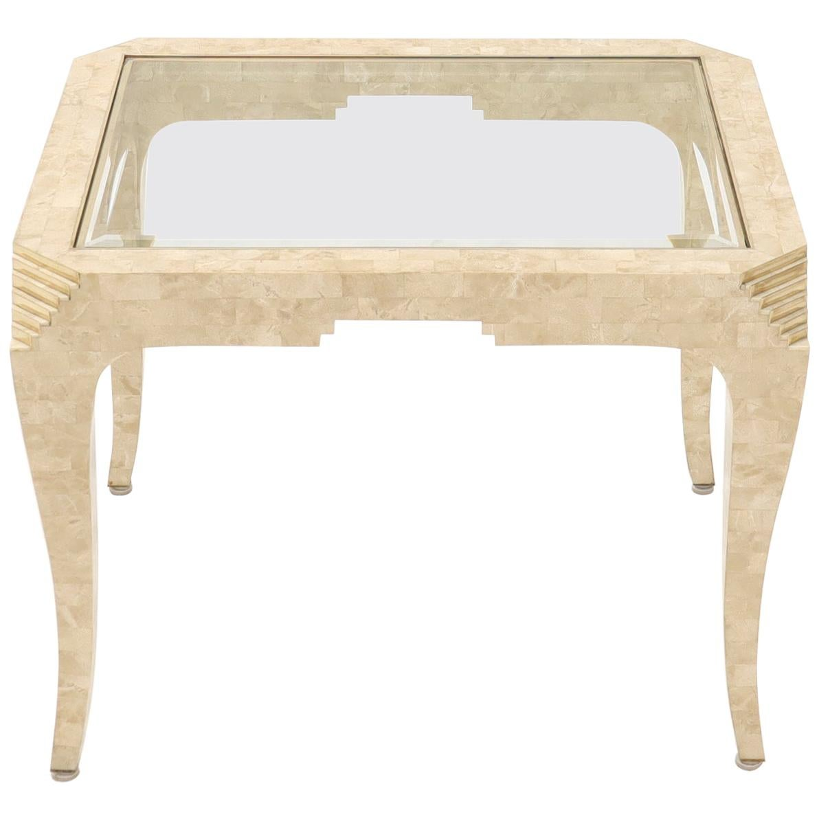 Tessellated Stone Brass Inlay Rectangular Side End Table Glass Top