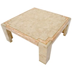 Tessellated Stone Brass Inlay Square Coffee Table