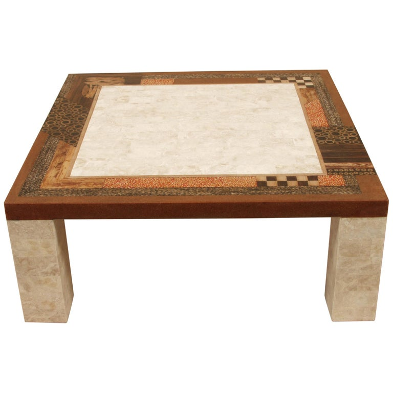 """Square Coffee Table Stone: Tessellated Stone """"Collage"""" Square Cocktail Table, 1990s"""