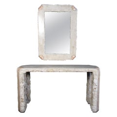 Tessellated Stone Console with Mirror