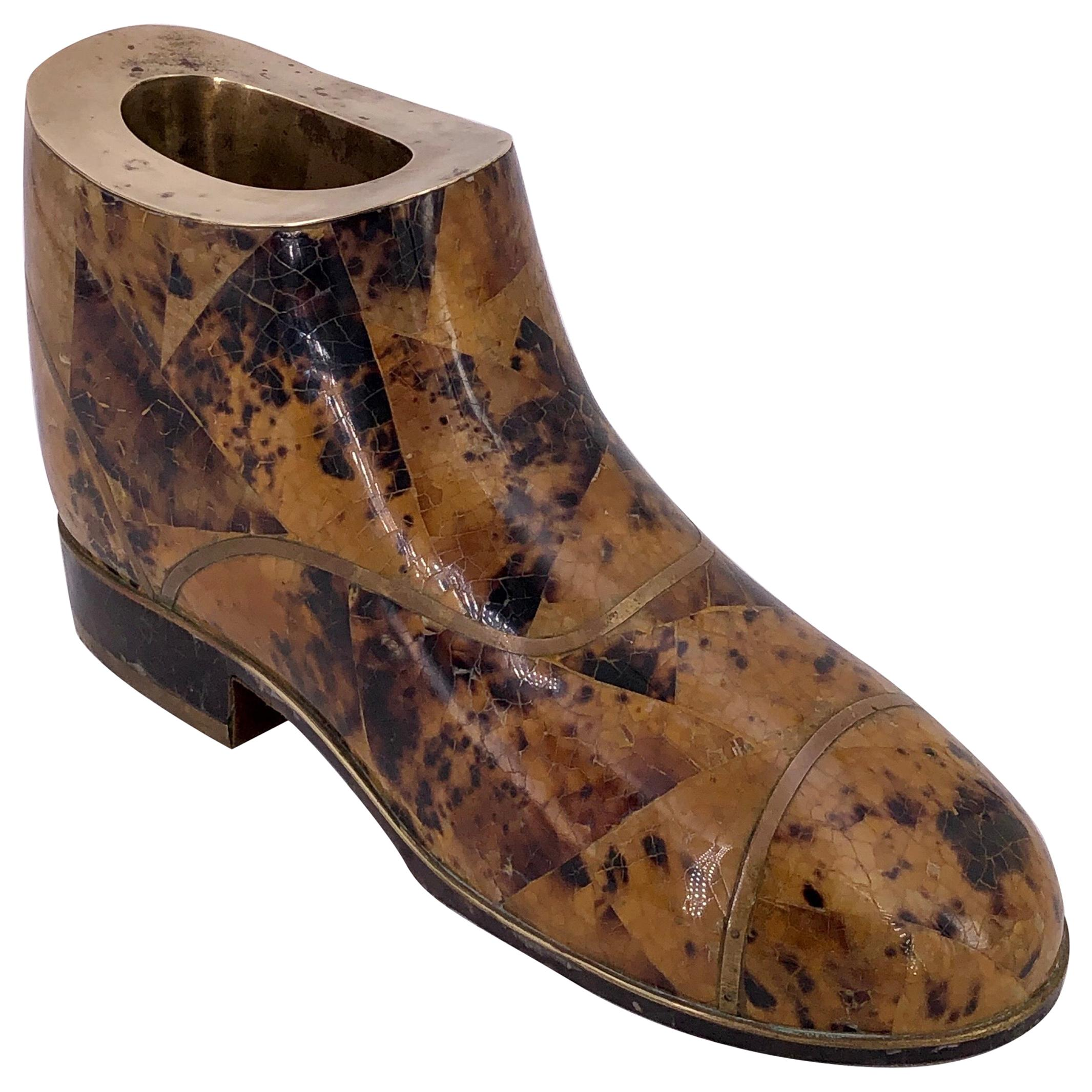 Tessellated Stone Decorative Boot in Brass by Maitland Smith
