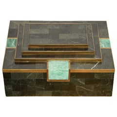 Tessellated Stone Jewelry Box Attributed to Maitland Smith, 1980s