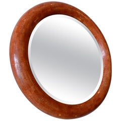 Tessellated Stone Round Beveled Mirror
