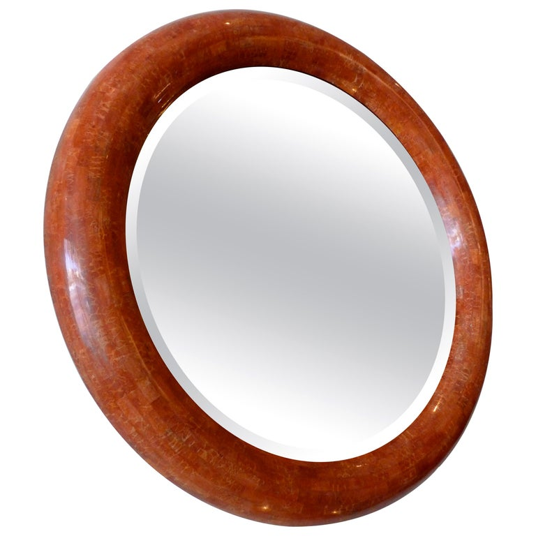 Tessellated Stone Round Beveled Mirror For Sale