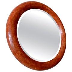 Tessellated Stone Round Beveled Mirror Vintage