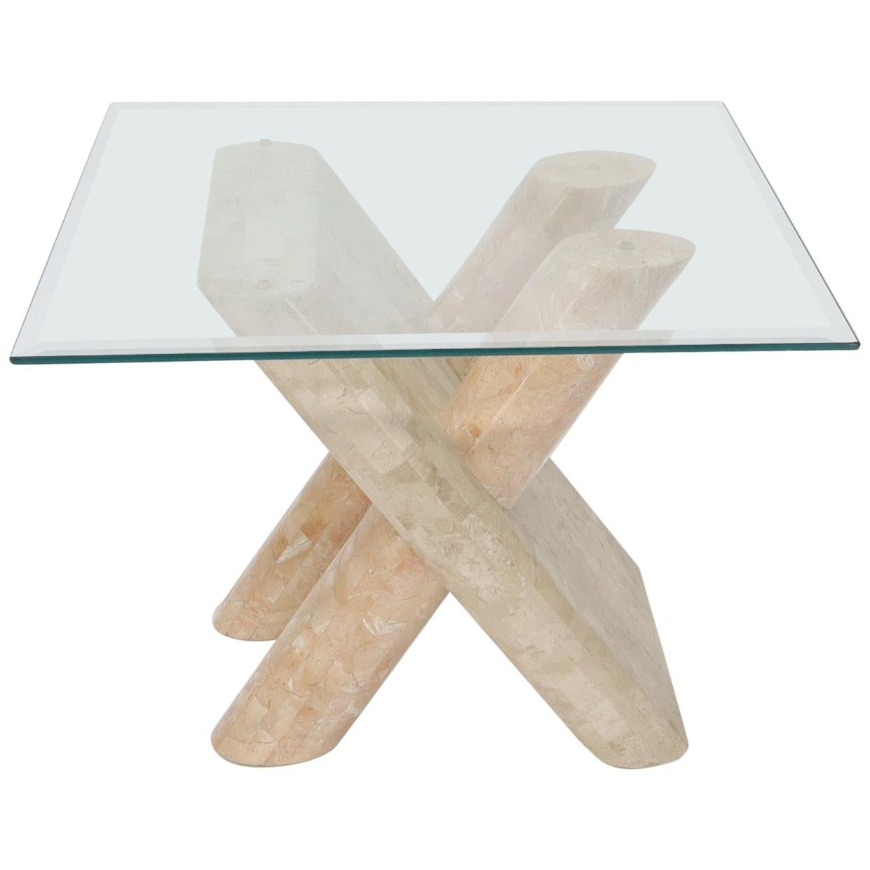 Tessellated Stone Rounded X-Shape Base Side Occasional Square Glass Top Table