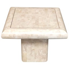 Tessellated Stone Side Table with Brass Inlay