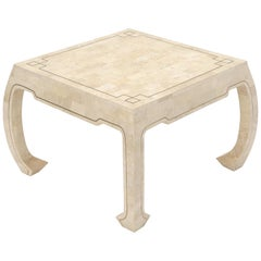 Tessellated Stone Veneer Brass Inlay Square Occasional Coffee Side Table