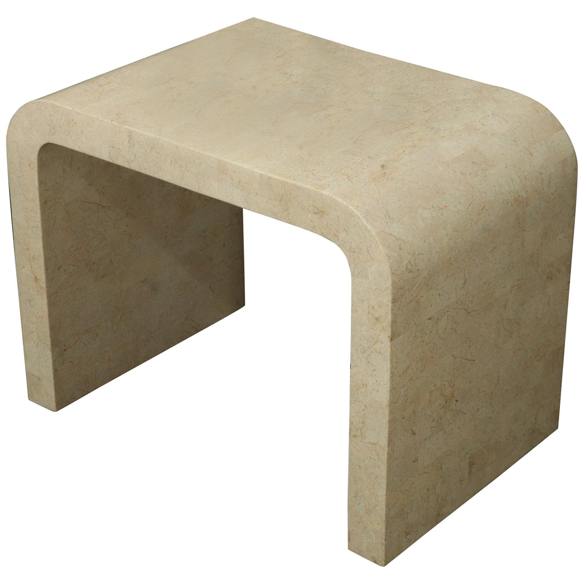 Tessellated Stone Veneer C Shape Side Coffee End Table