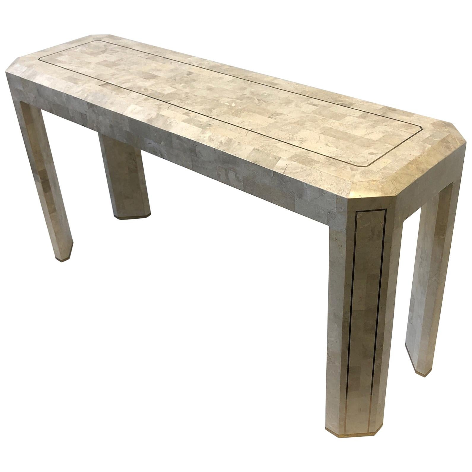Tessellated Travertine and Inlay Brass Console Table by Maitland Smith