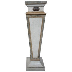 Tessellated Travertine and Marble Geometric Pedestal-Maitland-Smith Style