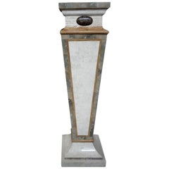 Tessellated Travertine and Marble Geometric Pedestal Maitland-Smith Style