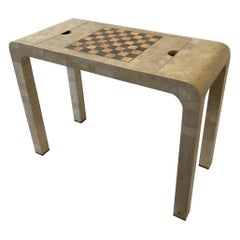 Tessellated White Fossil Stone and Marble Game Table Console by Maitland Smith