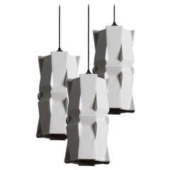 Tessellation 3 Contemporary Hanging Light Cluster Translucent Porcelain