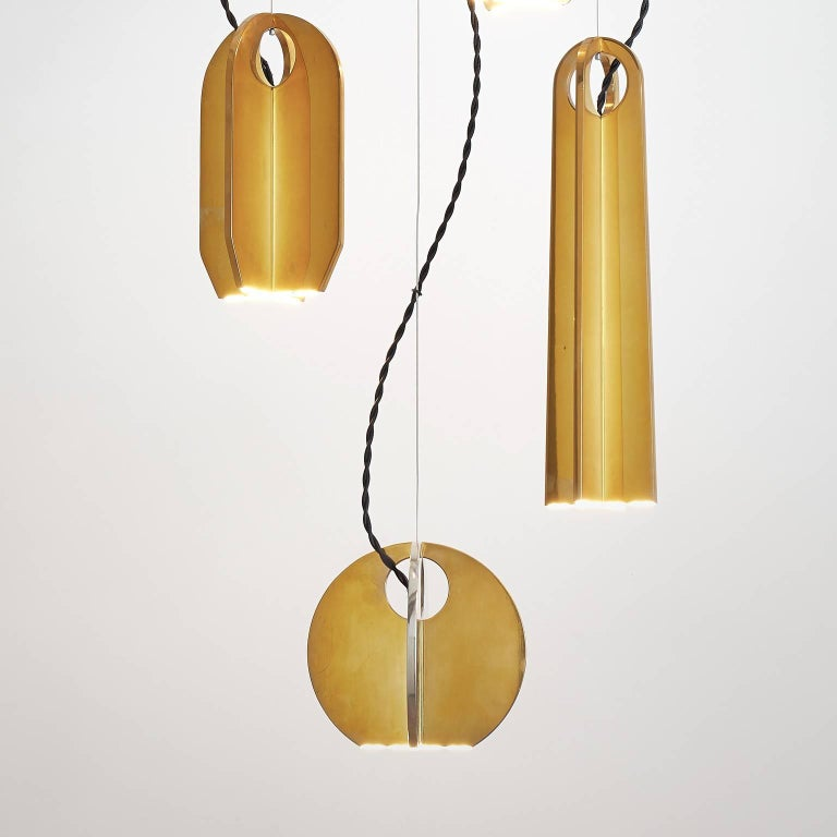 Italian Tessere Five Lights LED Pendant / Chandelier Solid Brass Minimal light fixtures For Sale