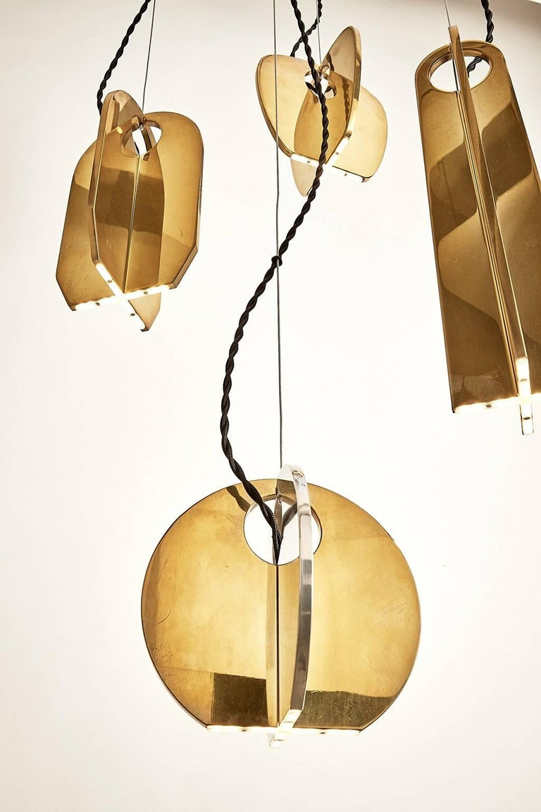 Polished Tessere Five Lights LED Pendant / Chandelier Solid Brass Minimal light fixtures For Sale