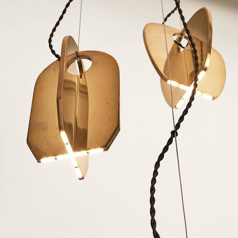 Contemporary Tessere Five Lights LED Pendant / Chandelier Solid Brass Minimal light fixtures For Sale