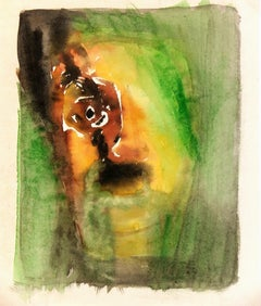 Abstract Watercolor - The Scream Green Figure