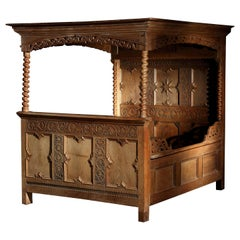 Tester or Four Poster Double Bed, Early to Mid-17th Century, German Baroque, Oak