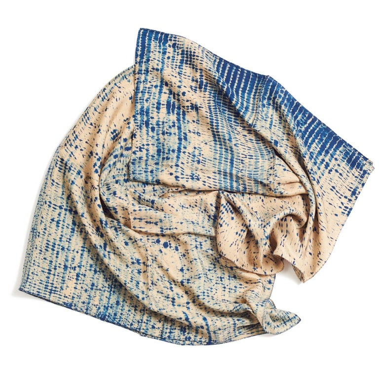 Modern TESU Indigo  Silk  Scarf / Wrap For Sale