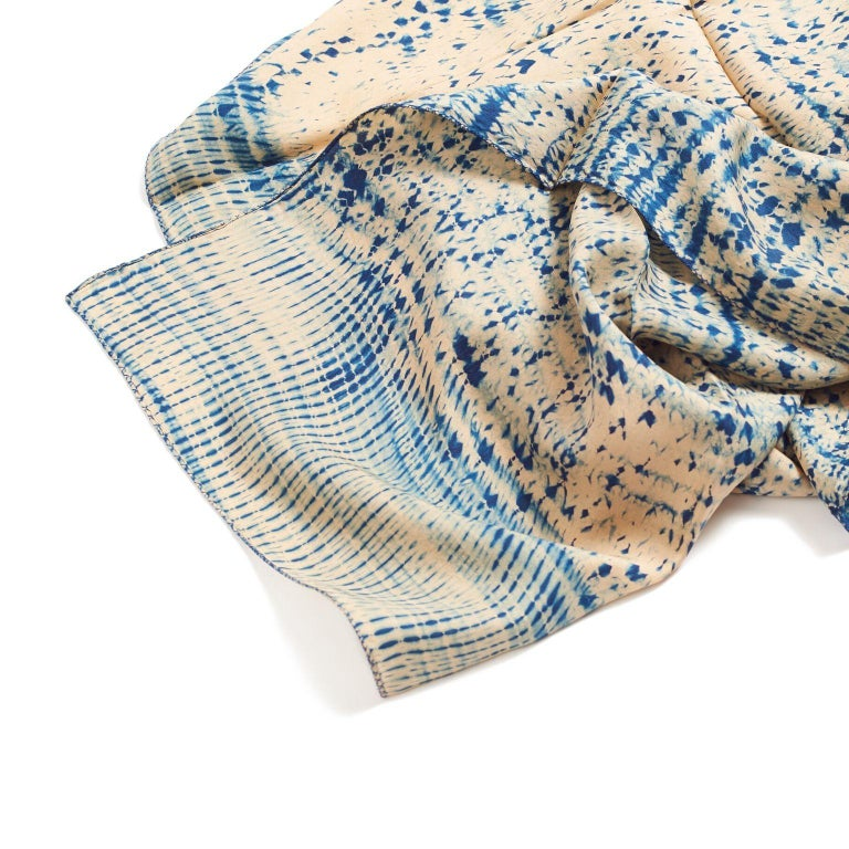 TESU Indigo  Silk  Scarf / Wrap In New Condition For Sale In Bloomfield Hills, MI