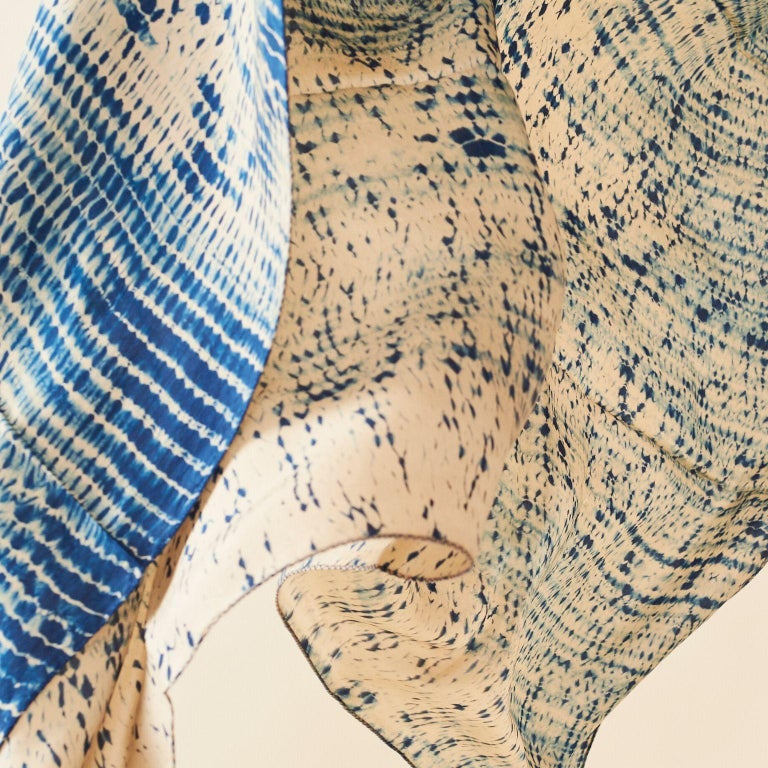 Contemporary TESU Indigo  Silk  Scarf / Wrap For Sale