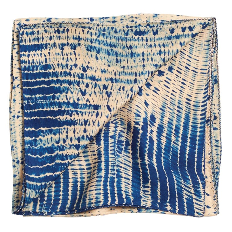 TESU Indigo  Silk  Scarf / Wrap For Sale