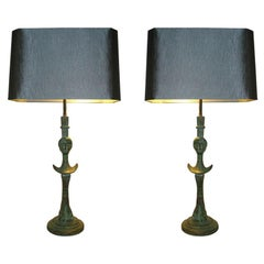 Tête de Femme Pair of Verdigris Bronze Sculptural Table Lamps