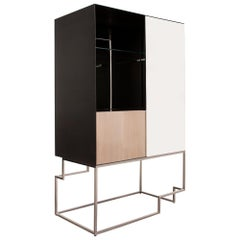 TETRA, Bar in High Gloss Sycamore, Gun Metal Steel and Polished Stainless Steel
