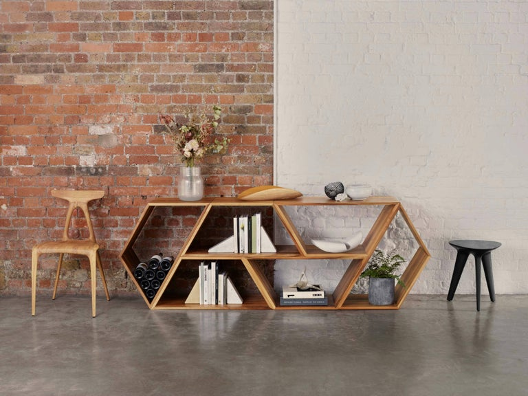 Tetra, Solid Walnut Contemporary Customisable Shelving Units by Made in Ratio In New Condition For Sale In London, GB