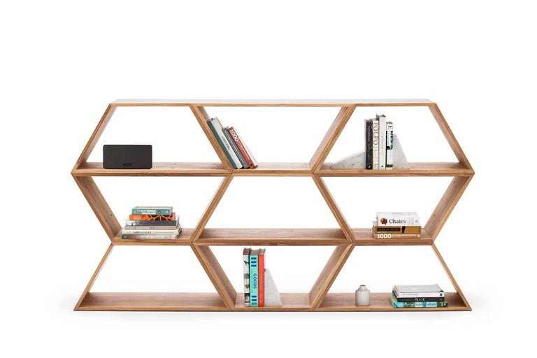 Tetra, Solid Walnut Contemporary Customisable Shelving Units by Made in Ratio For Sale 1