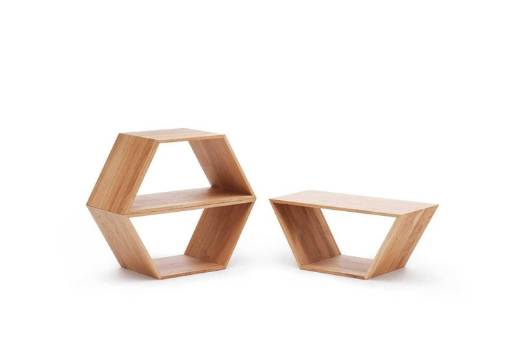 Tetra, Solid Walnut Contemporary Customisable Shelving Units by Made in Ratio For Sale 2