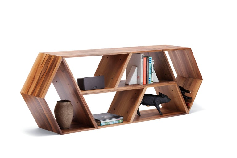 Minimalist Tetra, Solid Walnut Contemporary Customisable Shelving Units by Made in Ratio For Sale