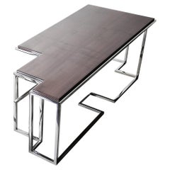 Tetra L, Large Coffee Table in Polished Stainless Steel and High Gloss Sycamore