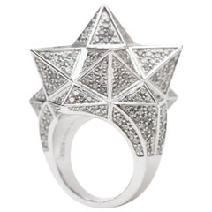 Tetra Star Ring in 18K White Gold and Gray Diamonds