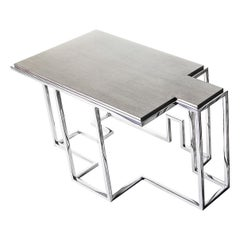 Tetra S, Small Coffee Table in Polished Stainless and Patinated Silver Leaf
