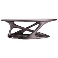 Amorph Tetra Table, Oval Shape, Dark Gray Metallic Finish