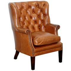 Tetrad Bradley Barrel Wingback Porters Chesterfield Leather Armchair