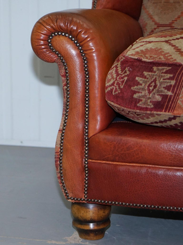 Tetrad Eastwood Brown Leather and Kilim Upholstery Armchair Lovely For Sale 3
